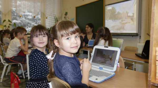 Дошкольники за ноутбуками